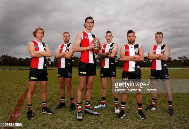 St Kilda's 2018 draftees Jack Bytel Callum Wilkie Max King Matthew Parker Robbie Young and Nick Hind pose for a photograph during a St Kilda Saints...