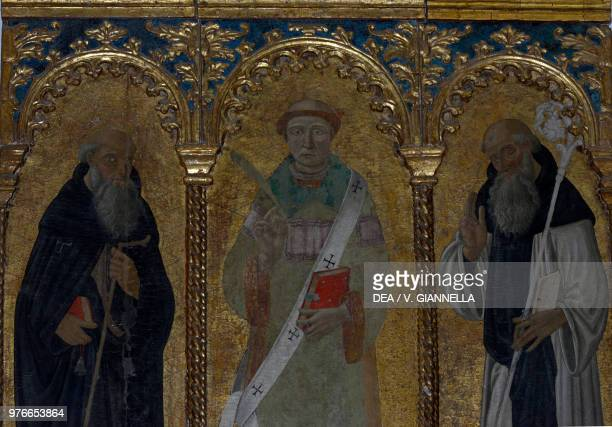 St Lawrence between St Anthony the Great and St Bernardine triptych in the Church of St Lawrence Manarola Cinque Terre Liguria Italy 15th century