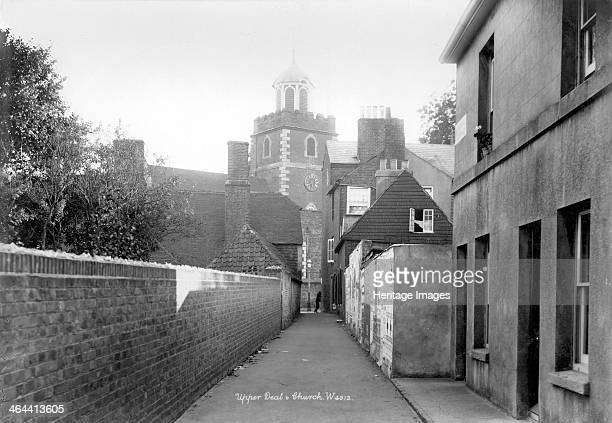 St Leonard's Church Upper Deal Kent 18901910 The tower of St Leonard's viewed along a narrow street The tower was built in 1684 of red brick The rest...