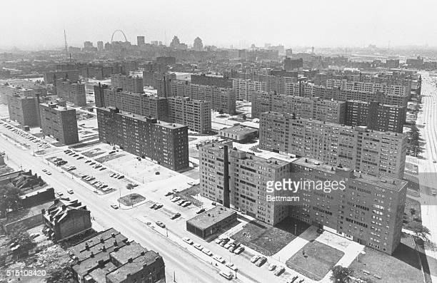 Aerial view made June 5 1971 shows the massive PruittIgoe housing project with its busted windows and the St Louis Gateway Arch in background Most of...