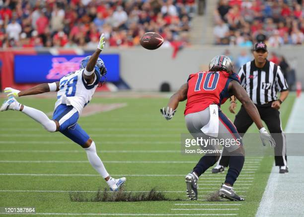 St Louis Battlehawks cornerback Robert Nelson prevents Houston Roughnecks wide receiver Sammie Coates from making a catch during the XFL game between...