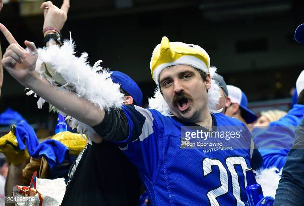 St Louis BattleHawks fan celebrates during an XFL game between the Seattle Dragons and the St Louis BattleHawks on February 29 at The Dome at...