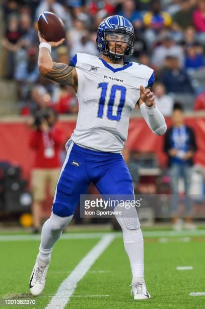 St Louis Battlehawks quarterback Jordan Ta'amu looks to pass to the flat during the football game between the St Louis Battlehawks and Houston...