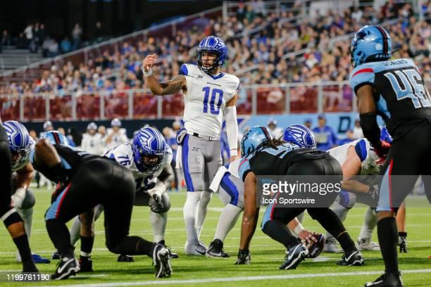 St. Louis Battlehawks quarterback Jordan Ta'amu signals a play during the game between the Dallas Renegades and the St. Louis Battlehawks on February...