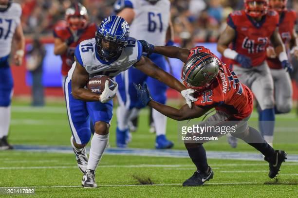 St Louis Battlehawks wide receiver De'Mornay PiersonEl stiff arms Houston Roughnecks cornerback Deatrick Nichols to break a tackle on a second half...