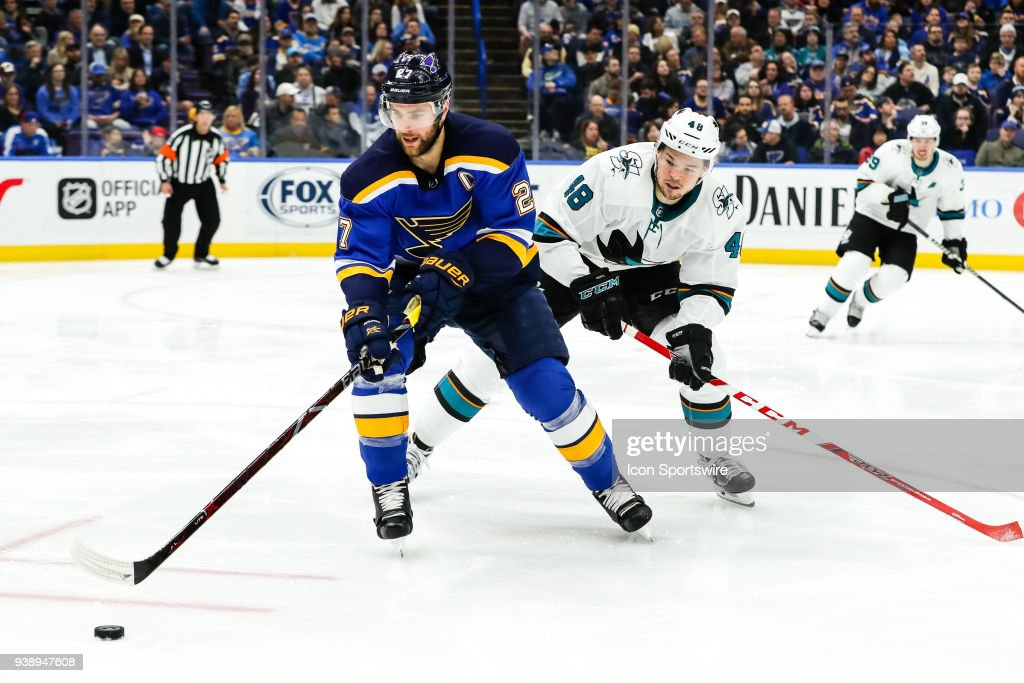 NHL: MAR 27 Sharks at Blues : News Photo