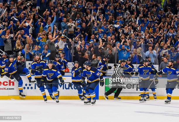 St Louis Blues and fans celebrate after defeating the San Jose Sharks in Game Six of the Western Conference Final during the 2019 NHL Stanley Cup...