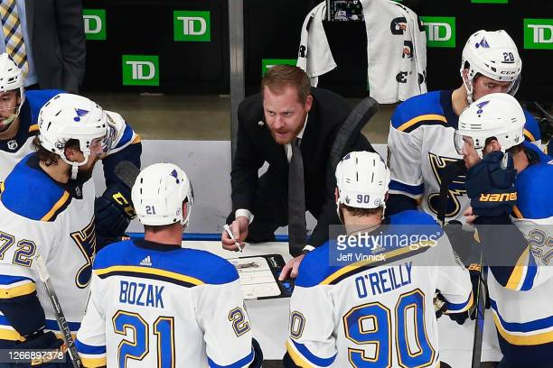 St. Louis Blues assistant coach Steve Ott handles the bench during the game against the Vancouver Canucks in Game Four of the Western Conference...