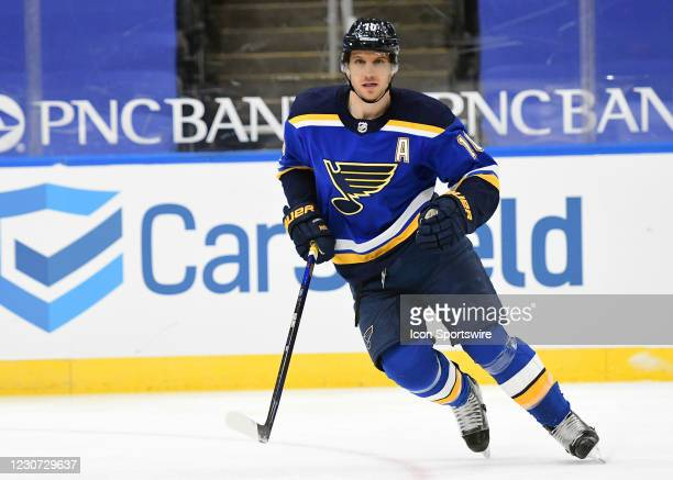 St. Louis Blues center Brayden Schenn during an NHL game between the San Jose Sharks and the St. Louis Blues on January 20 at Enterprise Center, St....