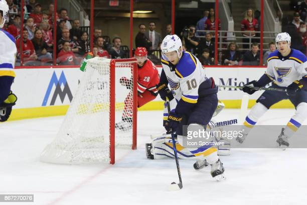 St Louis Blues Center Brayden Schenn during the 1st period of the Carolina Hurricanes game versus the St Louis Blues on October 27 at PNC Arena in...