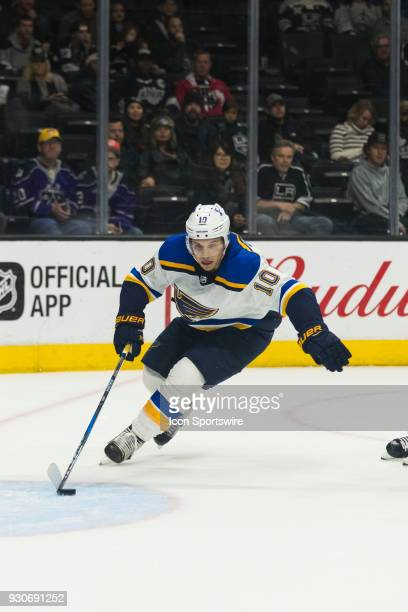 St Louis Blues center Brayden Schenn during the NHL regular season game against the Los Angeles Kings on March 10 at Staples Center in Los Angeles CA