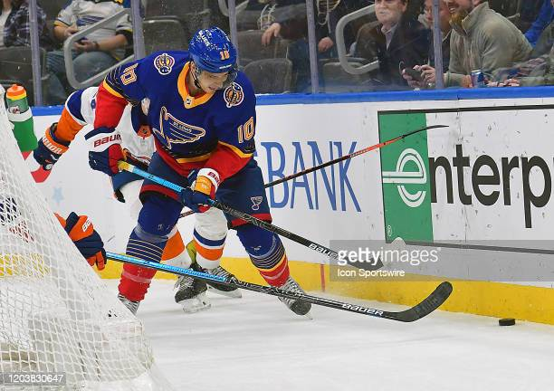St Louis Blues center Brayden Schenn tracks down a loose puck during an NHL game between the New York Islanders and the St Louis Blues on February 27...