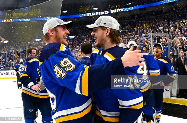 St Louis Blues center Ivan Barbashev and St Louis Blues center Robert Thomas celebrate after the Blues defeated the Sharks four games to two after...