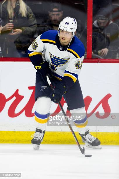 St Louis Blues Center Ivan Barbashev during warmup before National Hockey League action between the St Louis Blues and Ottawa Senators on March 14 at...