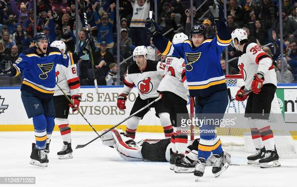 St Louis Blues center Ivan Barbashev reacts after scoring in the first period during an NHL game between the New Jersey Devils and the St Louis Blues...