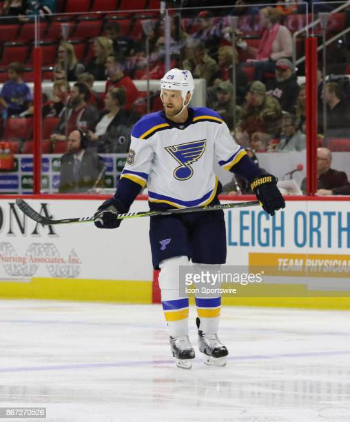 St Louis Blues Center Kyle Brodziak during the Carolina Hurricanes game versus the St Louis Blues on October 27 at PNC Arena in Raleigh NC