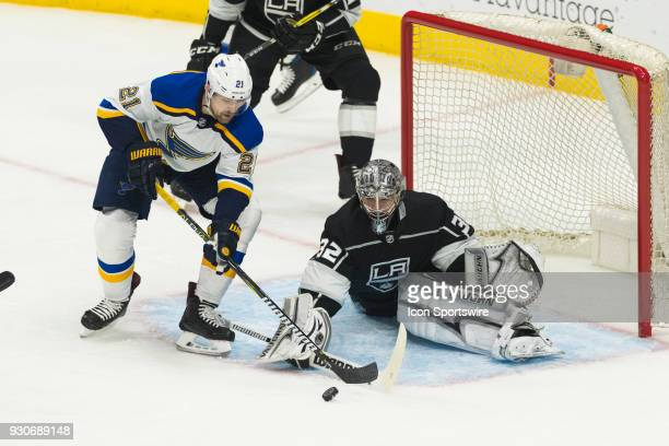 St Louis Blues center Patrik Berglund and Los Angeles Kings goaltender Jonathan Quick during the NHL regular season game on March 10 at Staples...