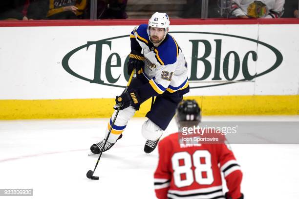 St Louis Blues center Patrik Berglund handles the puck in overtime play during a game between the Chicago Blackhawks and the St Louis Blues on March...