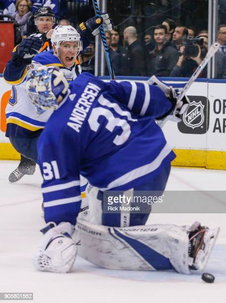 St Louis Blues center Paul Stastny celebrates the goal as Toronto Maple Leafs goaltender Frederik Andersen starts to get up Toronto Maple Leafs VS St...