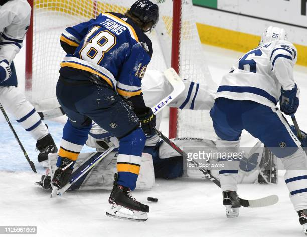 St Louis Blues center Robert Thomas takes a shot in goal during an NHL game between the Toronto Maple Leafs and the St Louis Blues on February 19 at...