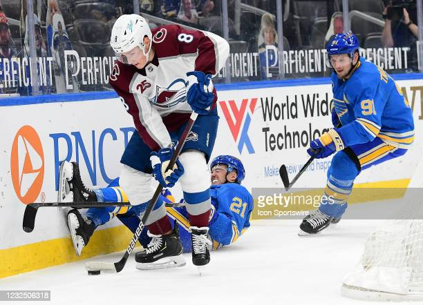 St. Louis Blues center Tyler Bozak falls to the ice trying to get the puck from Colorado Avalanche defenseman Cale Makar as St. Louis Blues right...