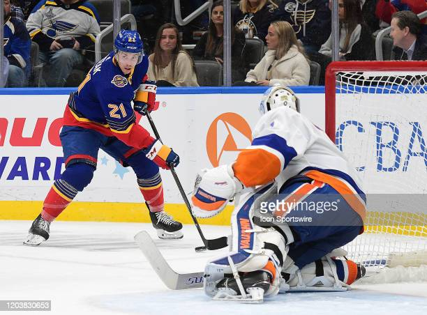 St Louis Blues center Tyler Bozak gets ready to take a shot on goal during an NHL game between the New York Islanders and the St Louis Blues on...