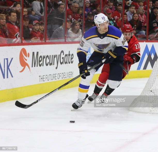 St Louis Blues Defenceman Colton Parayko during the 1st period of the Carolina Hurricanes game versus the St Louis Blues on October 27 at PNC Arena...