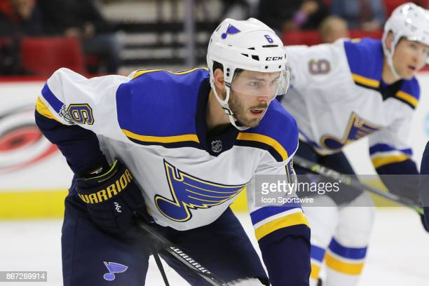 St Louis Blues Defenceman Joel Edmundson during the 1st period of the Carolina Hurricanes game versus the St Louis Blues on October 27 at PNC Arena...