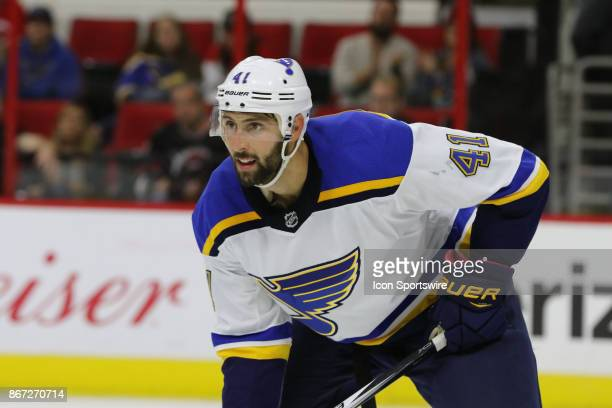St Louis Blues Defenceman Robert Bortuzzo during the Carolina Hurricanes game versus the St Louis Blues on October 27 at PNC Arena in Raleigh NC