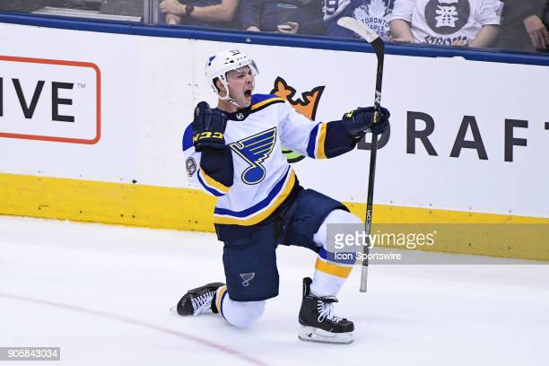 St Louis Blues Defenceman Vince Dunn celebrates after scoring the overtime winning goal during the regular season NHL game between the St Louis Blues...