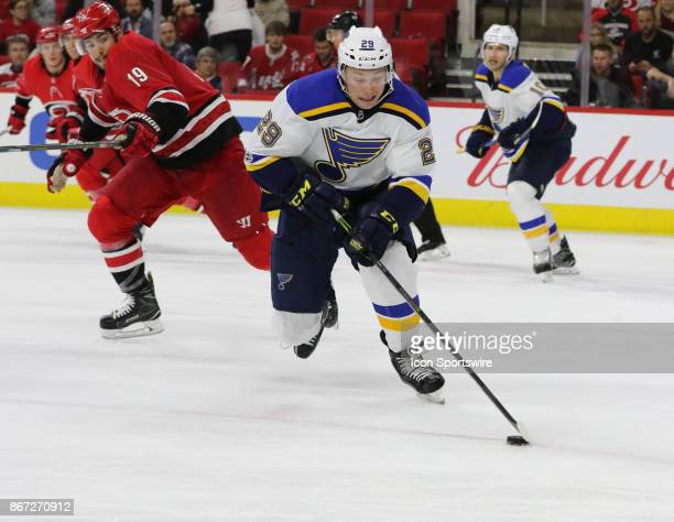 St Louis Blues Defenceman Vince Dunn during the Carolina Hurricanes game versus the St Louis Blues on October 27 at PNC Arena in Raleigh NC
