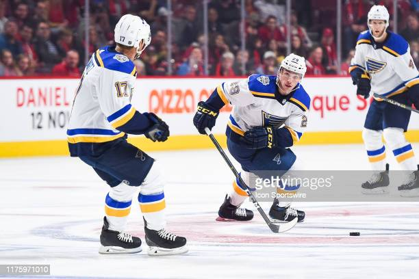 St. Louis Blues defenceman Vince Dunn looks for a pass target during the St. Louis Blues versus the Montreal Canadiens game on October 12 at Bell...