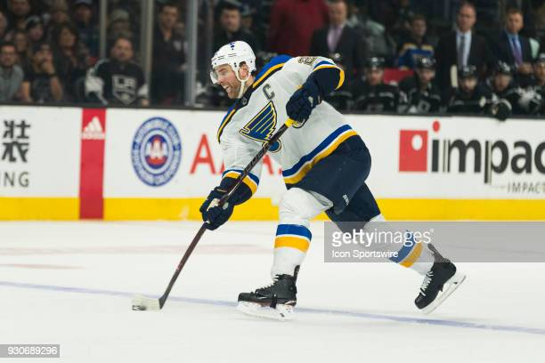 St Louis Blues defenseman Alex Pietrangelo during the NHL regular season game against the Los Angeles Kings on March 10 at Staples Center in Los...