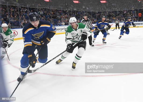 St Louis Blues defenseman Colton Parayko controls the puck on the boards during a NHL game between the Dallas Stars and the St Louis Blues on...