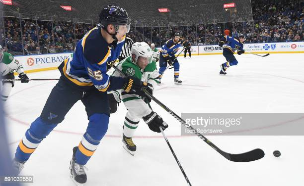 St Louis Blues defenseman Colton Parayko passes the puck away from the boards during a NHL game between the Dallas Stars and the St Louis Blues on...