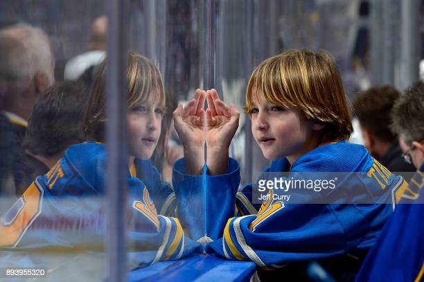 St. Louis Blues fan looks on during a game against the Winnipeg Jets at Scottrade Center on December 16, 2017 in St. Louis, Missouri.