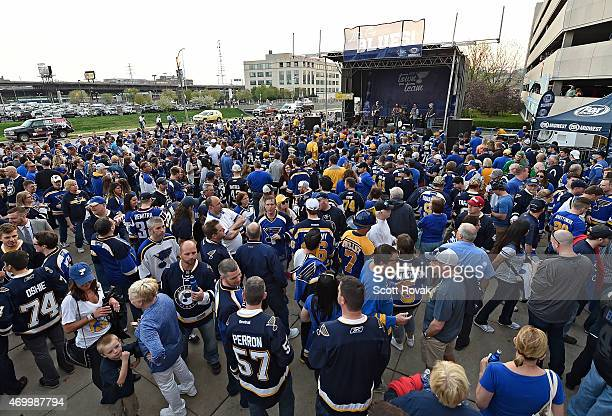 St Louis Blues fans attend a rally before Game One of the Western Conference Quarterfinals during the 2015 NHL Stanley Cup Playoffs against the...