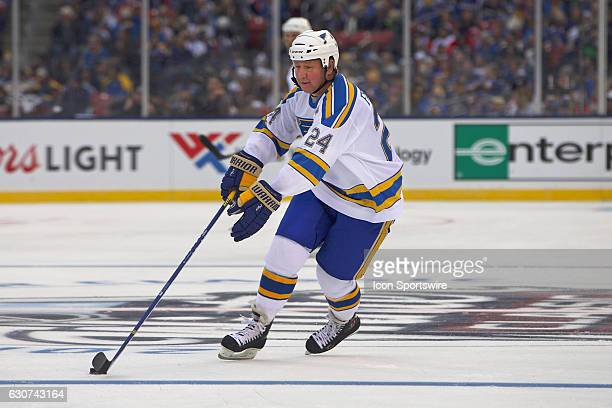 St Louis Blues Forward Bernie Federko skates with the puck during a NHL Winter Classic Alumni hockey game between the St Louis Blues and the Chicago...