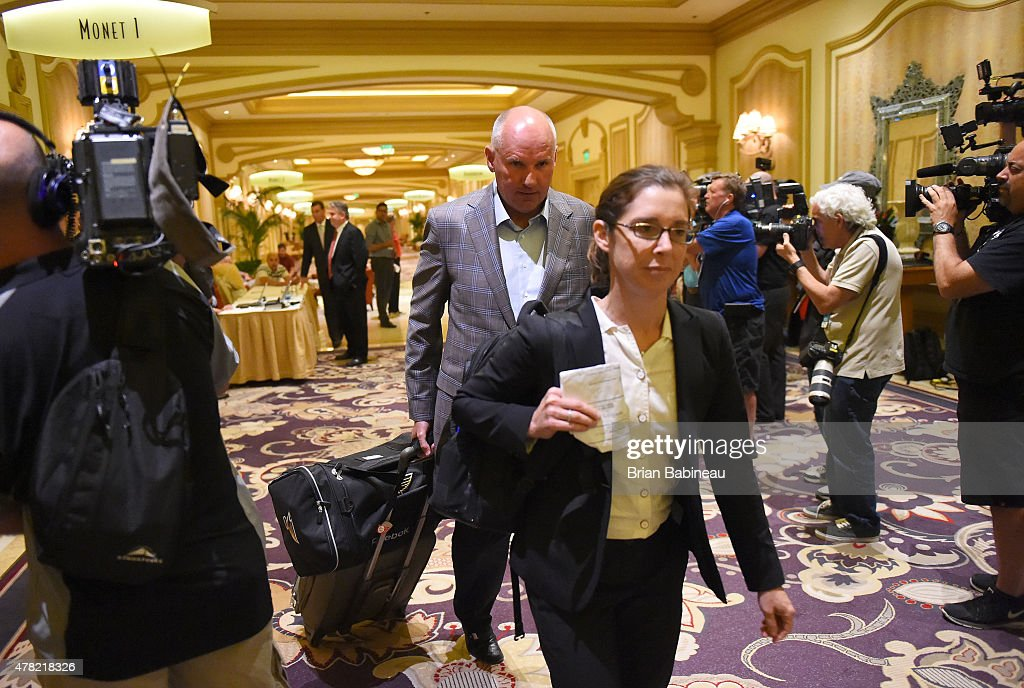 St. Louis Blues general manager Doug Armstrong leaves after the NHL general managers meetings at the Bellagio Las Vegas on June 23, 2015 in Las Vegas, Nevada.