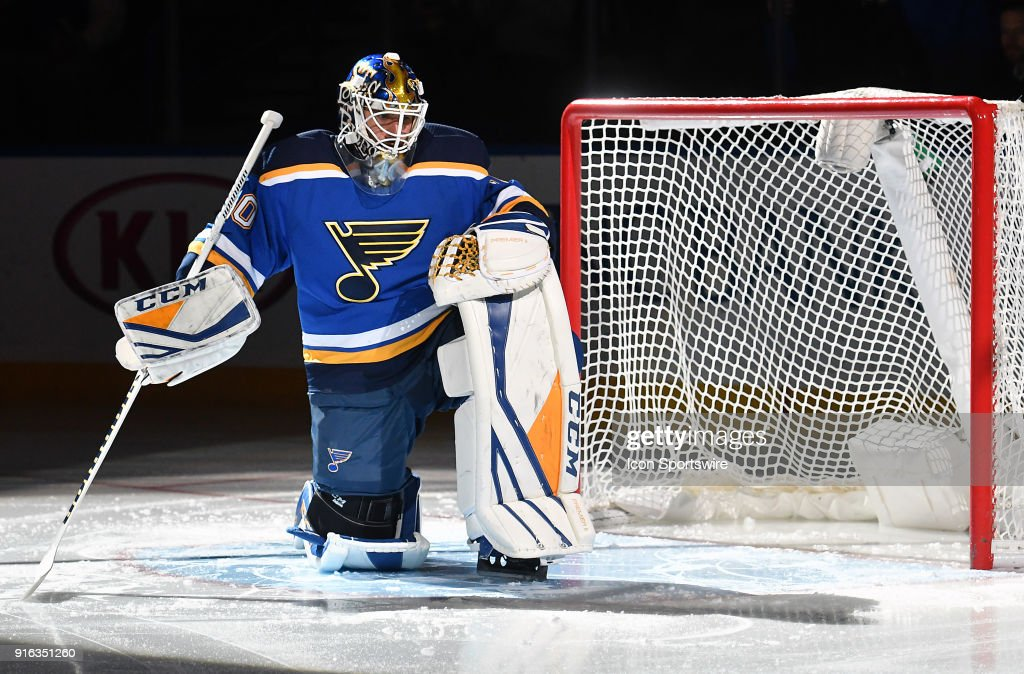 St. Louis Blues goalie Carter Hutton (40) before an NHL game between the Minnesota Wild and the St. Louis Blues on February 06, 2018, at Scottrade Center, St. Louis, MO.