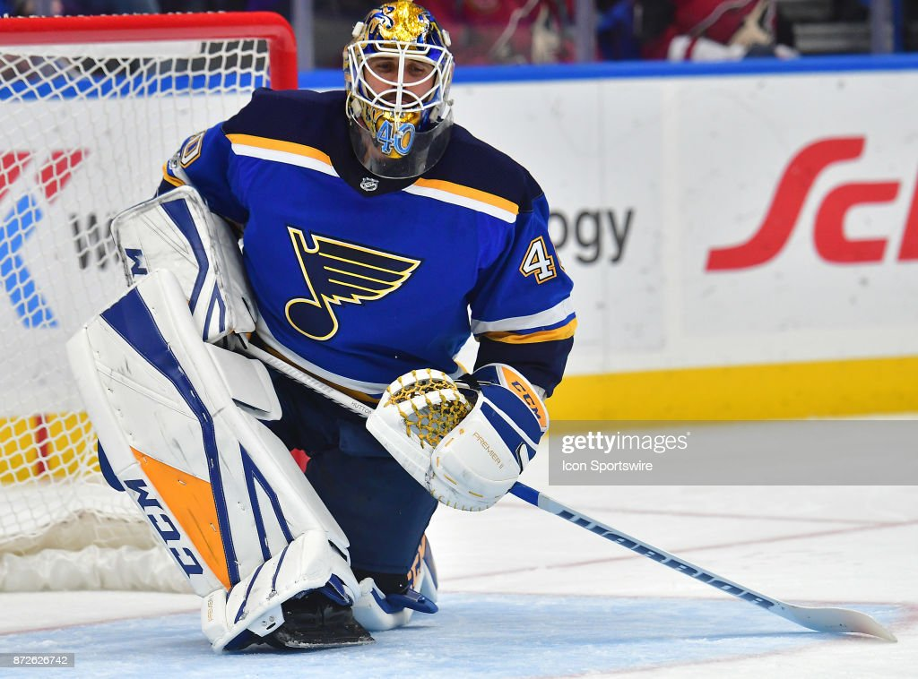 St. Louis Blues goalie Carter Hutton (40) during a National Hockey League game between the Arizona Coyotes and the St. Louis Blues on November 09, 2017, at Scottrade Center, St. Louis, MO.