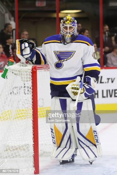 St Louis Blues Goalie Carter Hutton during the 1st period of the Carolina Hurricanes game versus the St Louis Blues on October 27 at PNC Arena in...