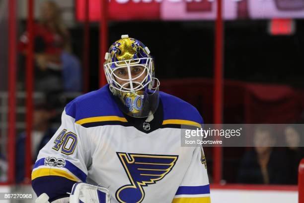 St Louis Blues Goalie Carter Hutton during the Carolina Hurricanes game versus the St Louis Blues on October 27 at PNC Arena in Raleigh NC