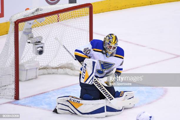 St Louis Blues Goalie Carter Hutton makes a save during the regular season NHL game between the St Louis Blues and Toronto Maple Leafs on January 16...