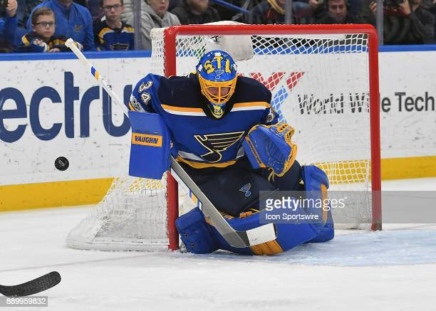 St Louis Blues goalie Jake Allen blocks a shot in the second period during a NHL game between the Buffalo Sabres and the St Louis Blues on December...
