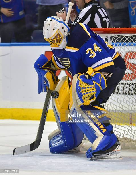 St Louis Blues goalie Jake Allen blocks a shot late in the game during game five of the second round of the Stanley Cup Playoffs between the...