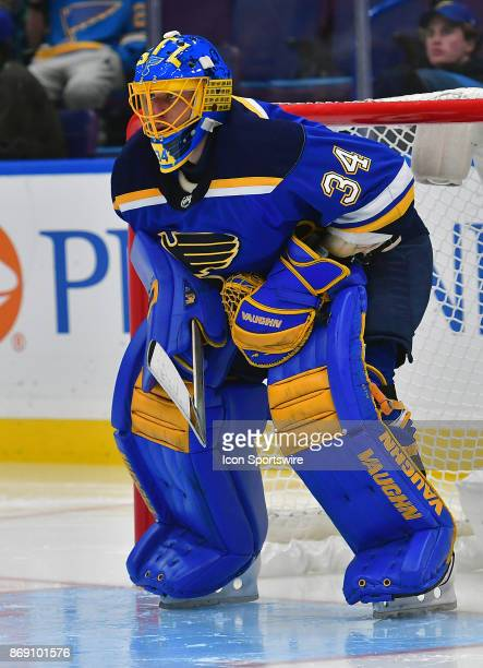 St Louis Blues goalie Jake Allen during a National Hockey League game between the Los Angeles Kings and the St Louis Blues on October 30 at Scottrade...