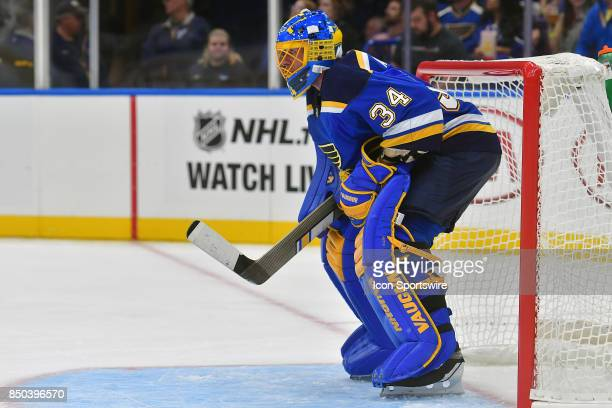 St Louis Blues goalie Jake Allen during a preseason National Hockey League game between the Columbus Blue Jackets and the St Louis Blues on September...