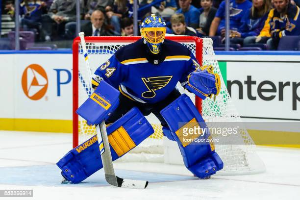 St Louis Blues goalie Jake Allen gets set for a shot during the second period of an NHL hockey game against the Dallas Stars October 7 at Scottrade...