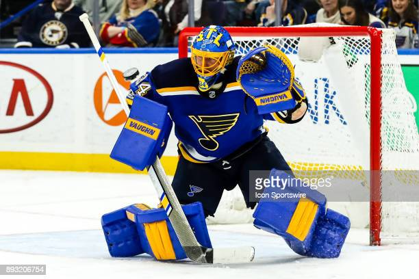 St Louis Blues goalie Jake Allen gets set to make a save during the third period of an NHL hockey game between the Anaheim Ducks and the St Louis...
